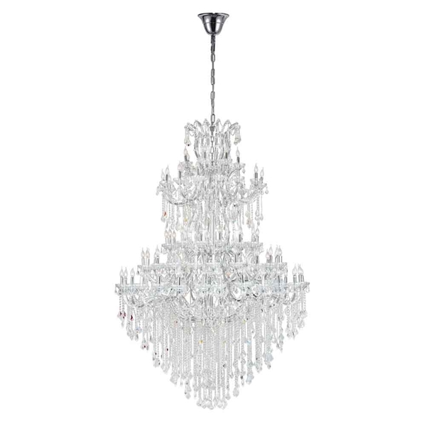 "Picture of 114"" 84 Light Up Chandelier with Chrome finish"