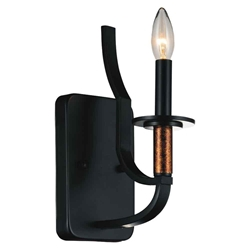 "12"" 1 Light Bathroom Sconce with Black finish"