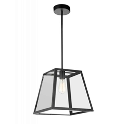 "12"" 1 Light Down Mini Pendant with Black finish"