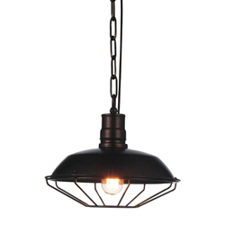 "12"" 1 Light Down Mini Pendant with Chocolate finish"