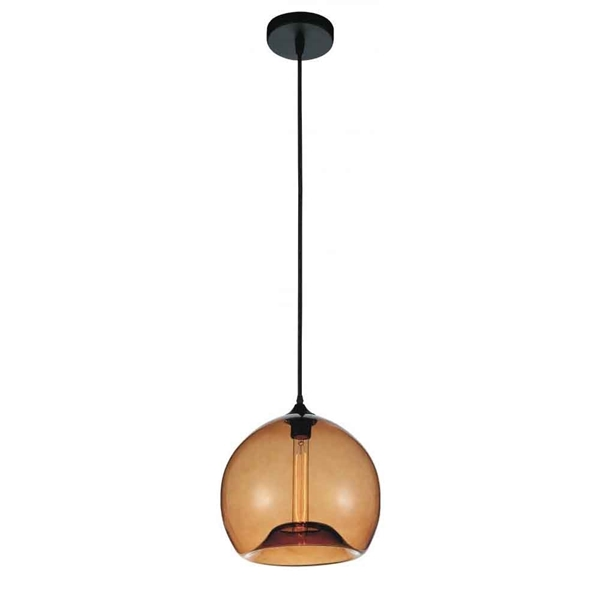 "Picture of 12"" 1 Light Down Mini Pendant with Transparent Amber finish"