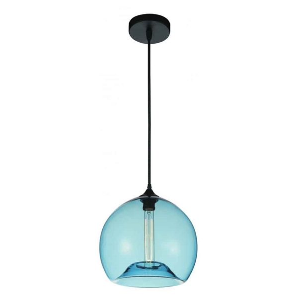 "Picture of 12"" 1 Light Down Mini Pendant with Transparent Blue finish"