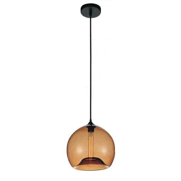 "Picture of 12"" 1 Light Down Mini Pendant with Transparent Cognac finish"