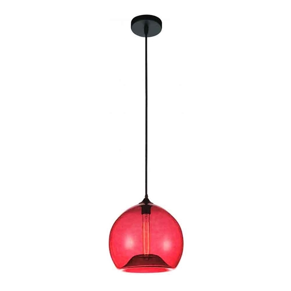 "Picture of 12"" 1 Light Down Mini Pendant with Transparent Red finish"