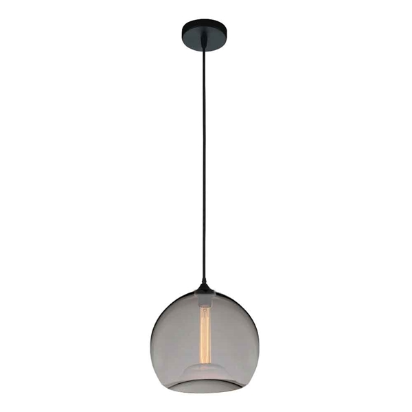 "Picture of 12"" 1 Light Down Mini Pendant with Transparent Smoke finish"
