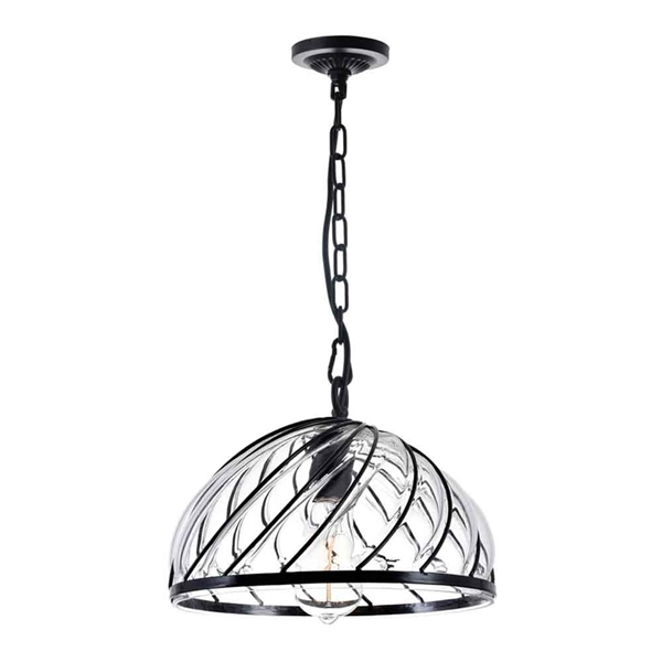 """Picture of 12"""" 1 Light Down Pendant with Black & Wood finish"""
