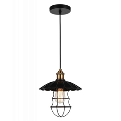 "12"" 1 Light Down Pendant with Black finish"