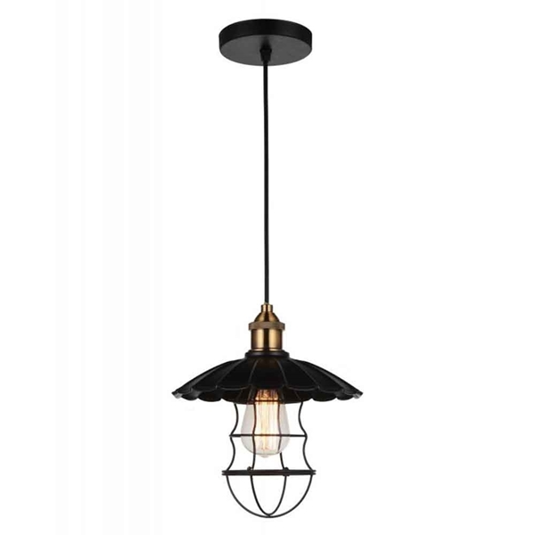 """Picture of 12"""" 1 Light Down Pendant with Black finish"""