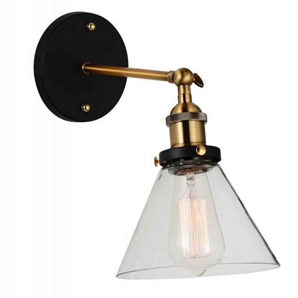 "Picture of 12"" 1 Light Wall Sconce with Black & Gold Brass finish"