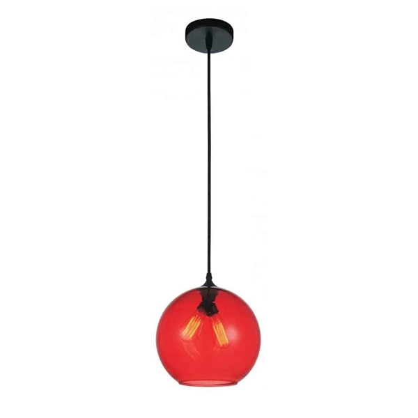 "Picture of 12"" 2 Light Down Mini Pendant with Transparent Red finish"