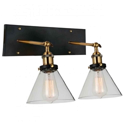 "12"" 2 Light Wall Sconce with Black & Gold Brass finish"