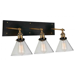 "12"" 3 Light Wall Sconce with Black & Gold Brass finish"