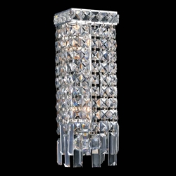 "12"" Bossolo Transitional Crystal Rectangular Square Wall Sconce Polished Chrome 2 Lights"