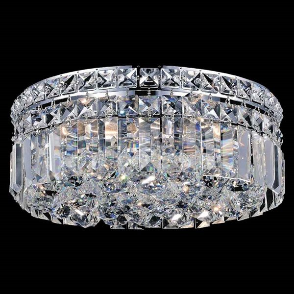 "Picture of 12"" Bossolo Transitional Crystal Round Flush Mount Chandelier Polished Chrome 4 Lights"
