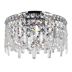 "12"" Bossolo Transitional Crystal Round Flush Mount Chandelier Polished Chrome 4-Lights"