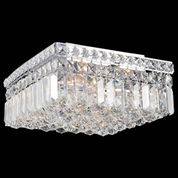 "12"" Bossolo Transitional Crystal Square Flush Mount Chandelier Polished Chrome 4 Lights"