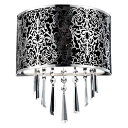 "12"" Drago Modern Crystal Round Laser Cut Stainless Steel Shade Black Fabric Wall Sconce 2 Lights"