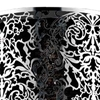 "Picture of 12"" Drago Modern Crystal Round Laser Cut Stainless Steel Shade Black Fabric Wall Sconce 2 Lights"