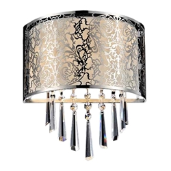 "12"" Drago Modern Crystal Round Laser Cut Stainless Steel Shade Off White Fabric Wall Sconce 2 Lights"