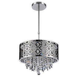 "12"" Forme Modern Laser Cut Round Crystal Mini Pendant Stainless Steel 3 Lights"