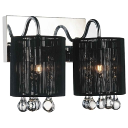 "12"" Gocce Modern Crystal String Shade Vanity Light Linear Wall Sconce 2 Lights"