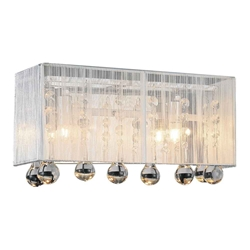 "12"" Gocce Modern Crystal String Shade Vanity Light Wall Sconce 2 Lights"