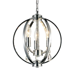 "12"" Led Cage Modern Crystal Round Mini Pendant Polished Chrome 3 Lights"