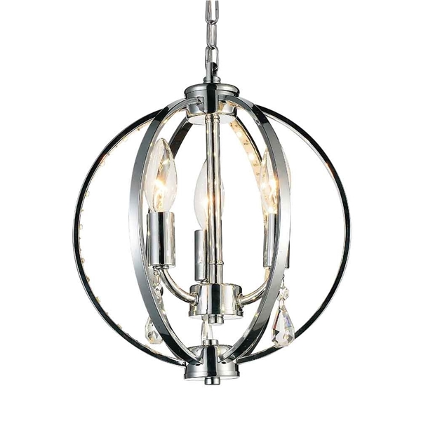 "Picture of 12"" Led Cage Modern Crystal Round Mini Pendant Polished Chrome 3 Lights"