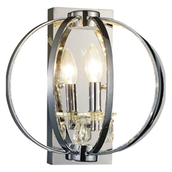 "12"" Led Cage Modern Crystal Round Wall Sconce Polished Chrome 1 Light"