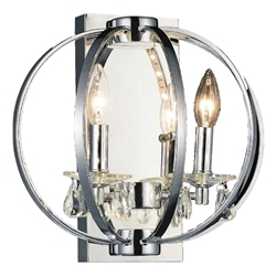 "12"" Led Cage Modern Crystal Round Wall Sconce Polished Chrome 2 Lights"