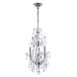 "12"" Maria Theresa Traditional Crystal Round Chandelier Polished Chrome 4 Lights"