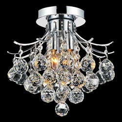 "12"" Monarch Crystal Flush Mount Small Round Chandelier Chrome / Gold 3 Lights"