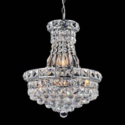 "12"" Primo Transitional Crystal Small Round Chandelier Chrome / Gold 6 Lights"