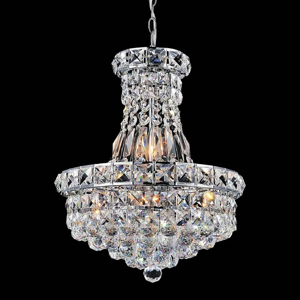 "Picture of 12"" Primo Transitional Crystal Small Round Chandelier Chrome / Gold 6 Lights"