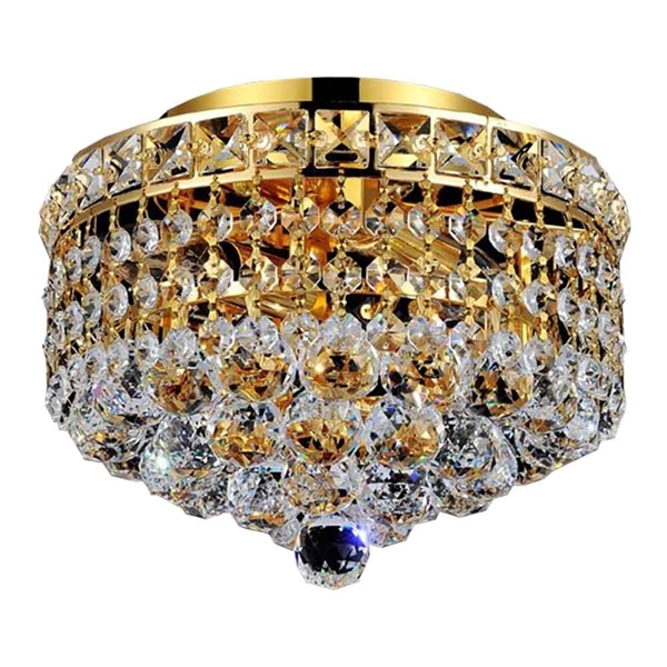 "Picture of 12"" Primo Transitional Small Round Crystal Flush Mount Ceiling Chandelier Gold Plated 3 Lights"