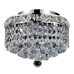 "12"" Primo Transitional Small Round Crystal Flush Mount Ceiling Chandelier Polished Chrome 3 Lights"