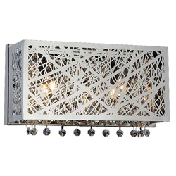 "12"" Web Modern Laser Cut Crystal Horizontal Wall Sconce Vanity Light Stainless Steel 2 Lights"