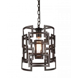 """13"""" 1 Light Down Chandelier with Brown finish"""