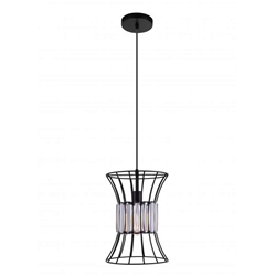 "13"" 1 Light Down Pendant with Black finish"