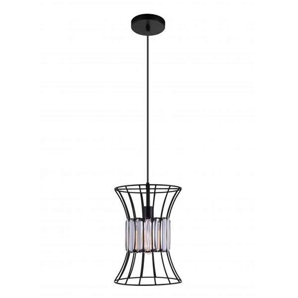 """Picture of 13"""" 1 Light Down Pendant with Black finish"""