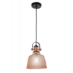 "13"" 1 Light Down Pendant with Cognac finish"
