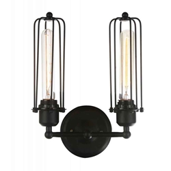 """13"""" 2 Light Wall Sconce with Black finish"""