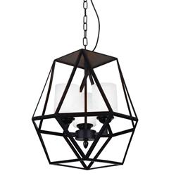"13"" 3 Light Candle Mini Pendant with Black finish"