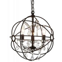 "13"" Bird Cage Modern Crystal Round Chandelier Dark Brown 3 Lights"
