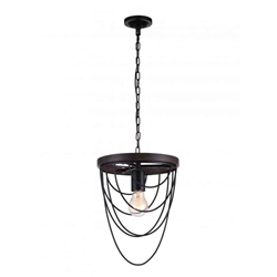 "14"" 1 Light  Mini Chandelier with Black finish"