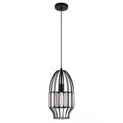 "14"" 1 Light Down Mini Pendant with Black finish"