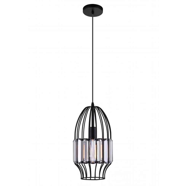 """Picture of 14"""" 1 Light Down Mini Pendant with Black finish"""