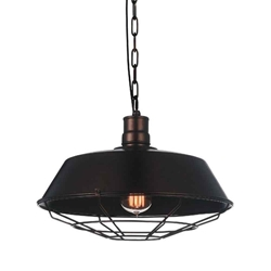 "14"" 1 Light Down Mini Pendant with Chocolate finish"