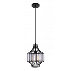 "14"" 1 Light Down Pendant with Black finish"