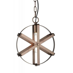 """14"""" 1 Light Down Pendant with Brown finish"""